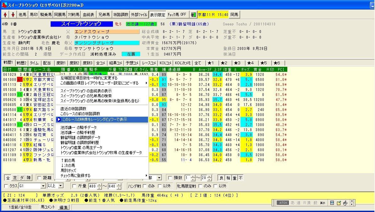 馬データ画面
